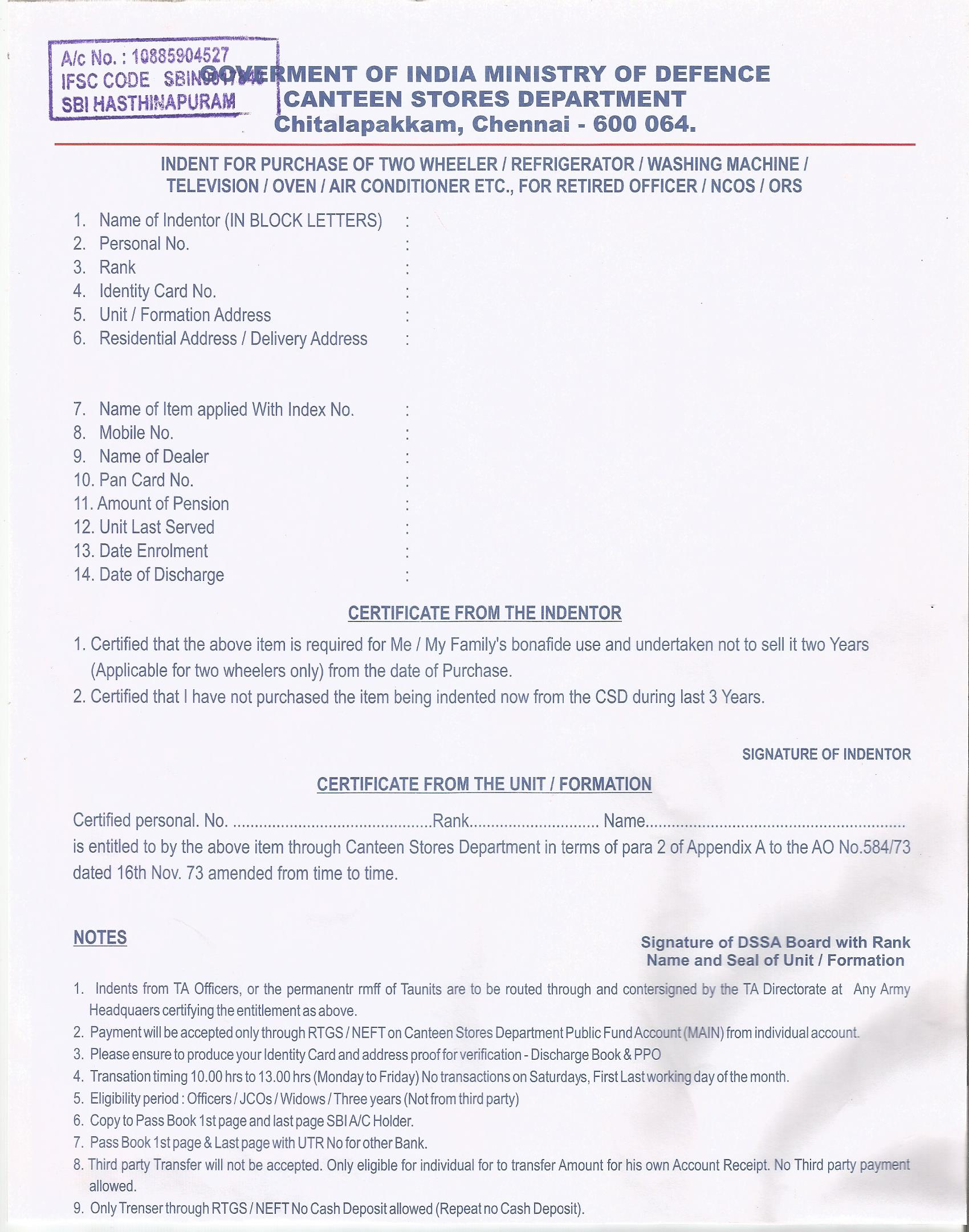 Download CSD Application Form for Service Personnel/NCOS/ORs