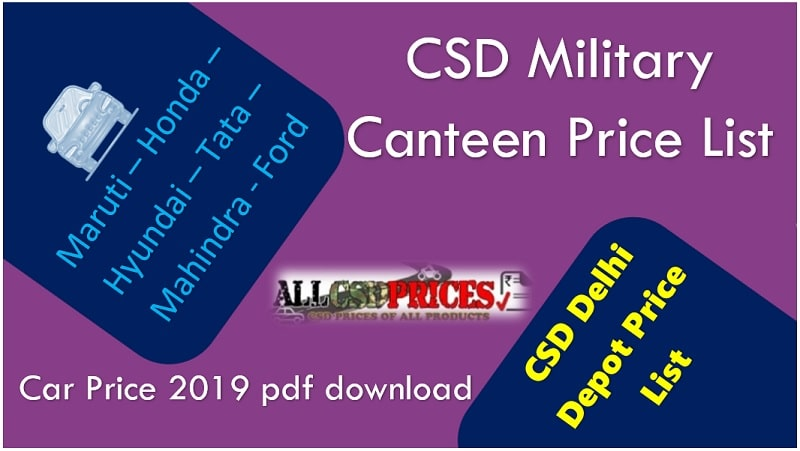 CSD Military Canteen Price List - Car Price 2019 pdf download