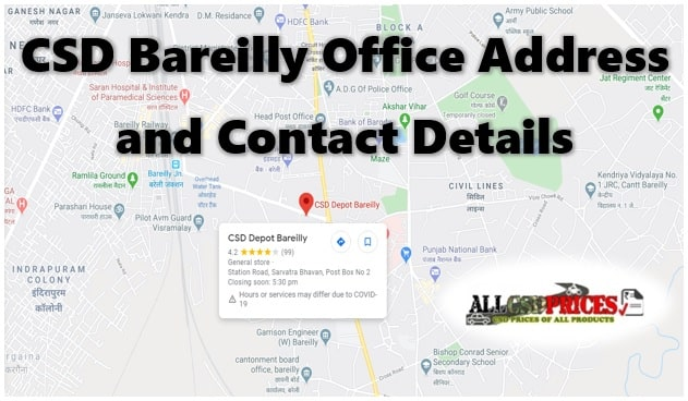 CSD Bareilly Office Address and Contact Details