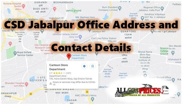 CSD Jabalpur Office Address and Contact Details