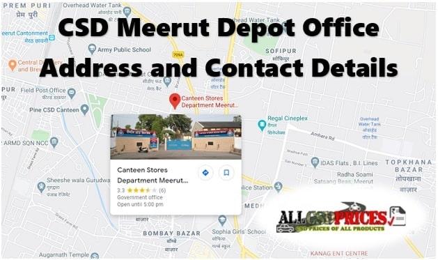 CSD Meerut Depot Office Address and Contact Details