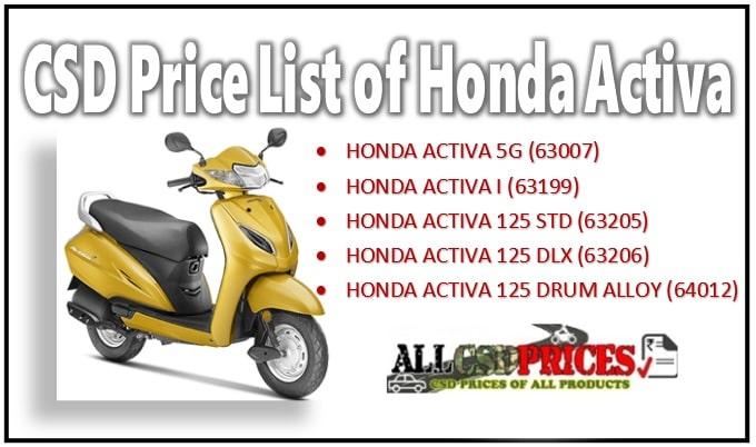 CSD Price of Honda Activa 5G