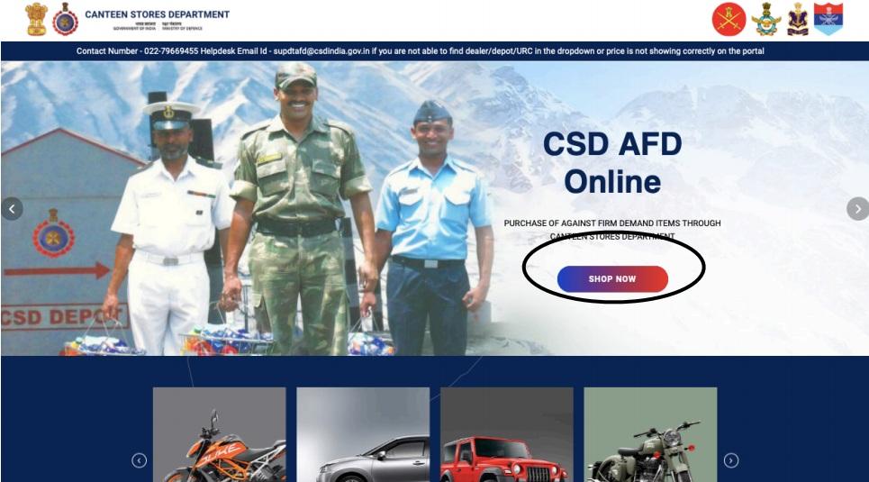 AFD CSD Canteen Online Portal Registration and Login Process
